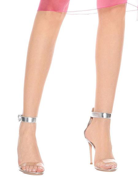 Milanoo Zapatos de vestir plateados para mujeres 2020 Sandalias de tacon alto con dos partes abiertas de tobillo con correa en el tobillo