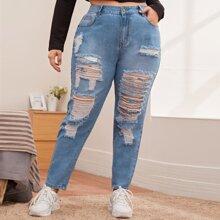 Jeans mit hoher Taille, leichter Waschung und Riss