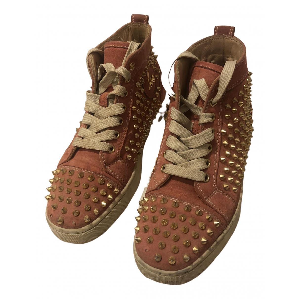Christian Louboutin Lou Spikes Sneakers in  Rosa Leder
