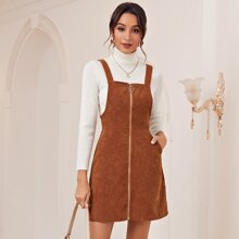 Zip Up Cord Pinafore Dress