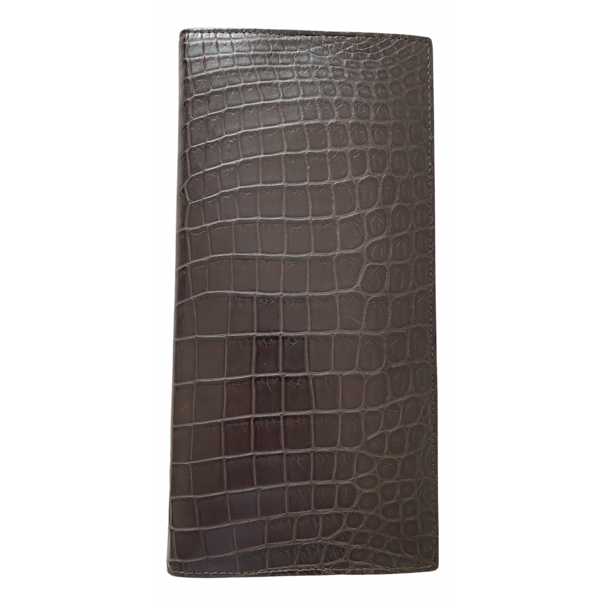 Bottega Veneta - Portefeuille   pour femme en crocodile - marron