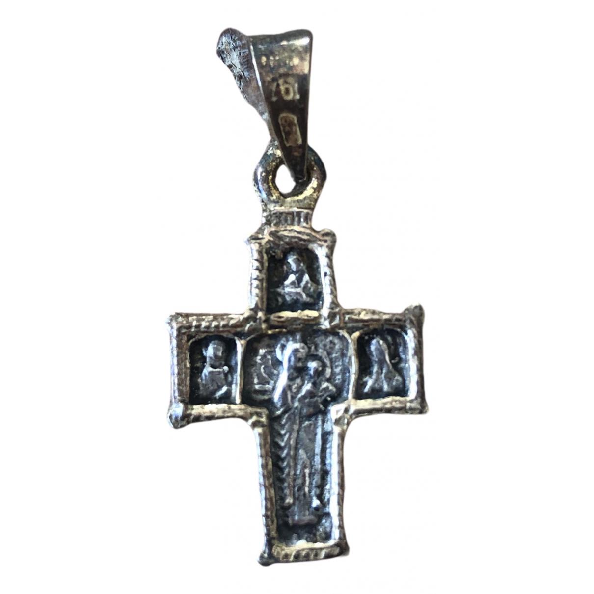Non Signe / Unsigned Croix Anhaenger in  Metallic Metall