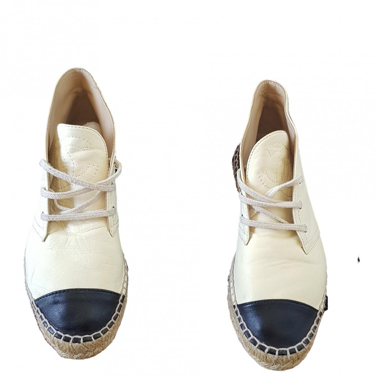 Chanel \N Ecru Leather Espadrilles for Women 38 EU