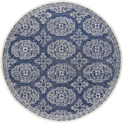 Granada GND-2308 6' Round Traditional Rug in Dark Blue  Medium Gray  Denim  Beige  Charcoal