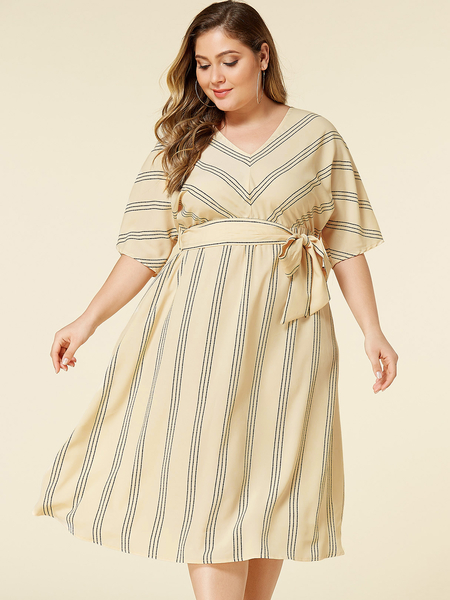 YOINS Plus Size Beige Belt Design Stripe V-neck Half Sleeves Dress