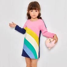 Toddler Girls Color Block Tee Dress