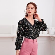 Ditsy Floral Contrast Lace Ruffle Blouse