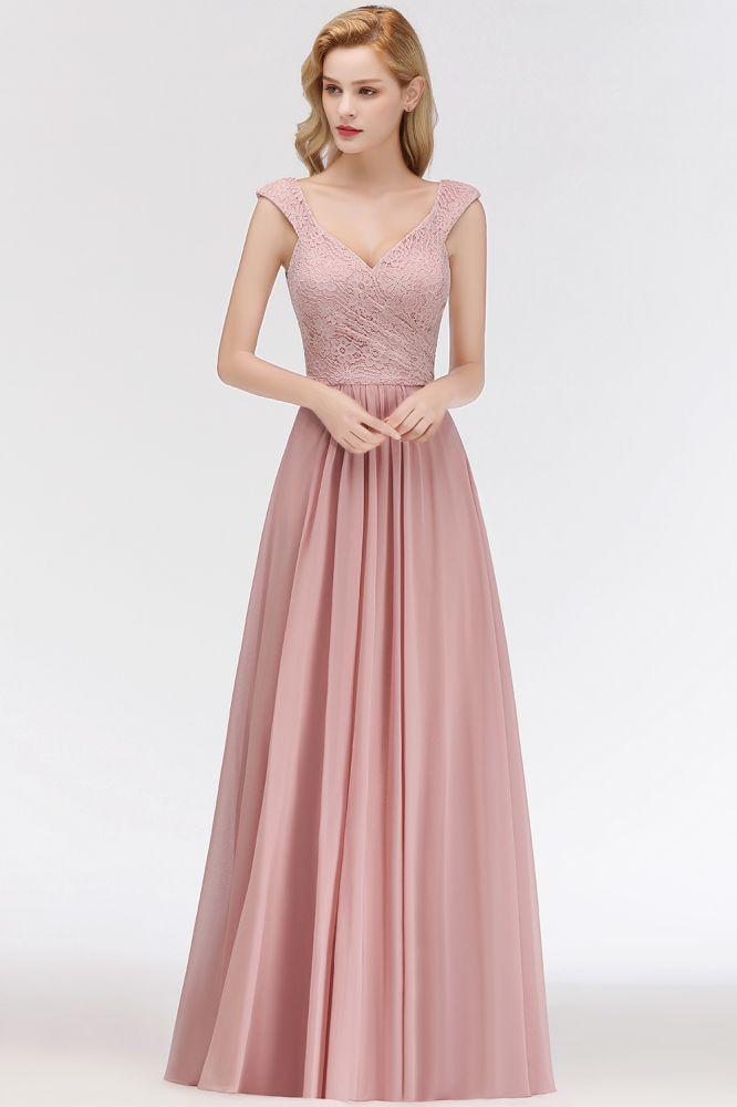 MARIA | A-line Long V-neck Sleeveless Lace Top Chiffon Bridesmaid Dresses