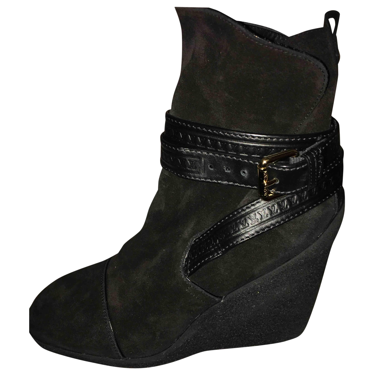 Louis Vuitton \N Black Suede Ankle boots for Women 38 EU