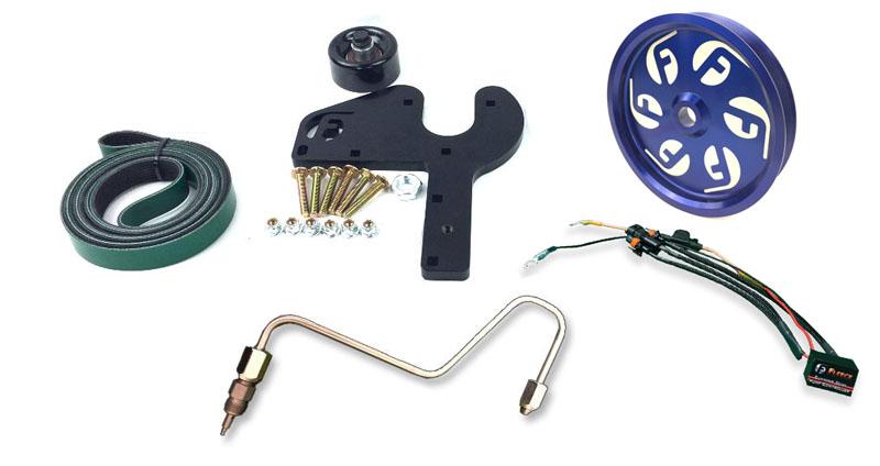 Fleece Performance FPE-DPK-67-36-NP-BL 2013-2018 6.7L Cummins Dual Pump Kit W/O Pump Blue Pulley