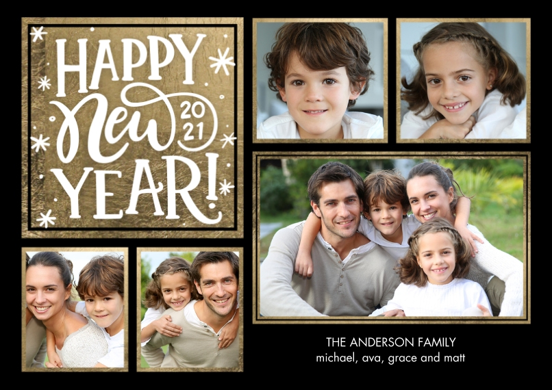 New Year's Photo Cards 5x7 Cards, Premium Cardstock 120lb with Scalloped Corners, Card & Stationery -New Year 2021 Gold Stars by Tumbalina