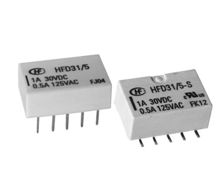 Hongfa Europe GMBH , 24V dc Coil Non-Latching Relay DPDT, 2A Switching Current Surface Mount, 2 Pole (40)