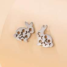 Hollow Out Rabbit Design Stud Earrings