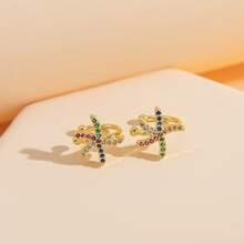 2 Stuecke Ohrringe mit Strass und Seestern Dekor