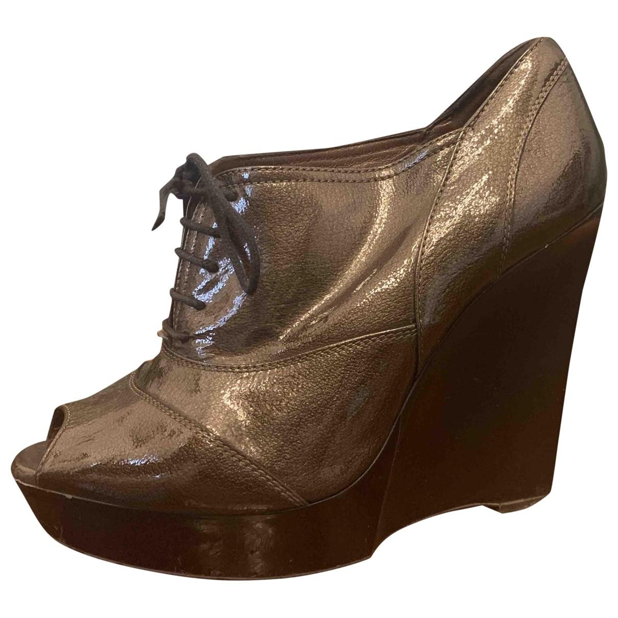 Marni - Boots   pour femme en cuir - metallise