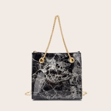 Marble Pattern Chain Shoulder Bag