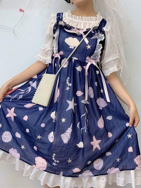 Milanoo Sweet Lolita JSK Dress Starfish Shell Printed Bows Ruffles Lolita Jumper Skirts