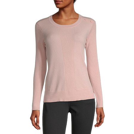 Liz Claiborne Womens Round Neck Long Sleeve Pullover Sweater, Petite Medium , Pink