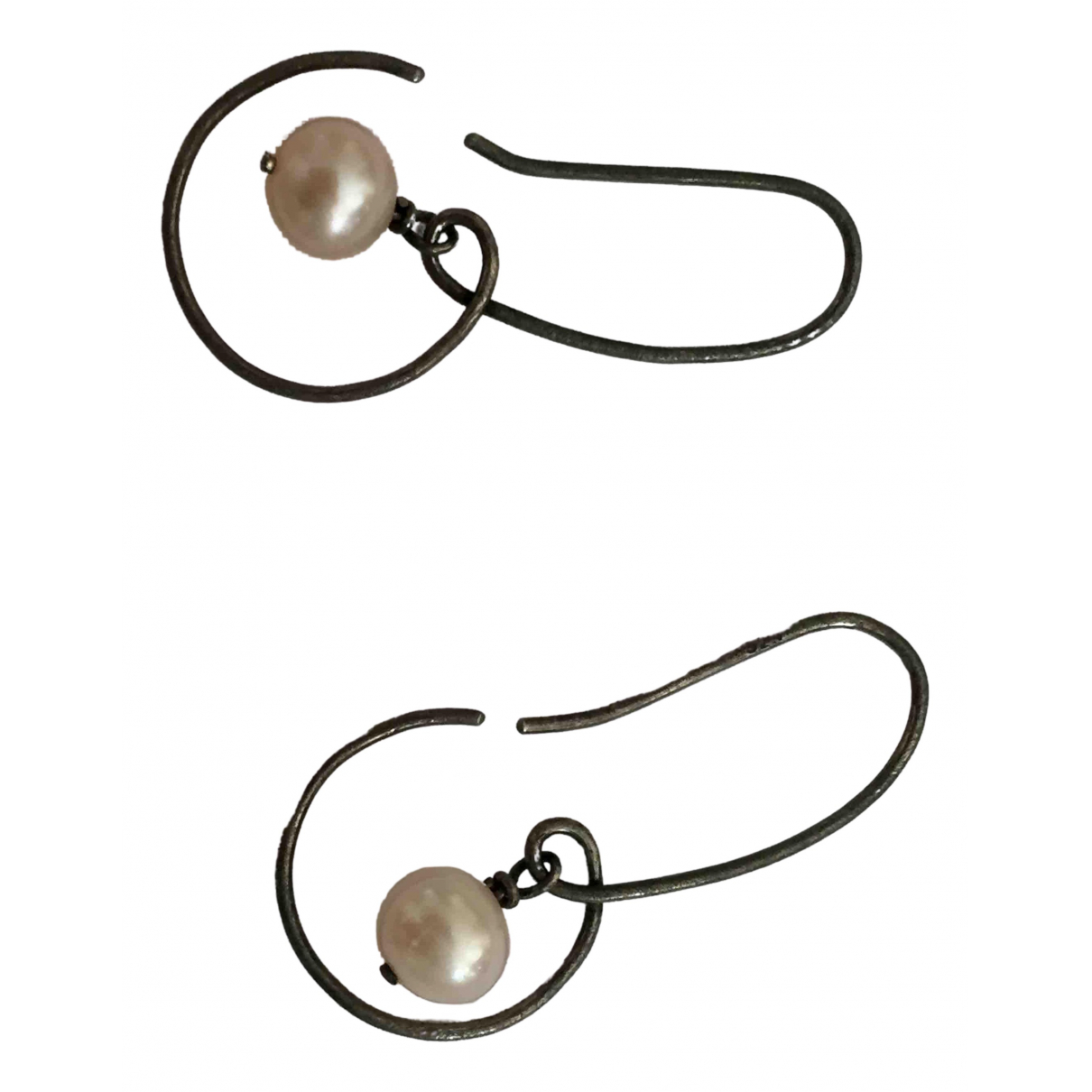 Non Signé / Unsigned Nacre Black Silver Earrings for Women N