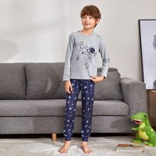 Boys Astronaut and Letter Graphic Tee and Pants PJ Set