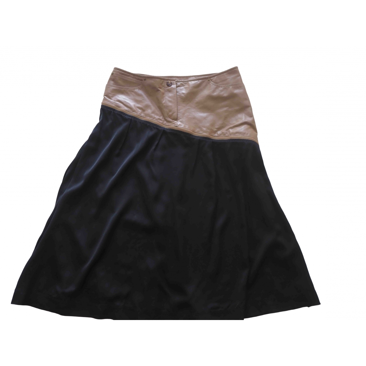 Celine - Jupe   pour femme en cuir - noir