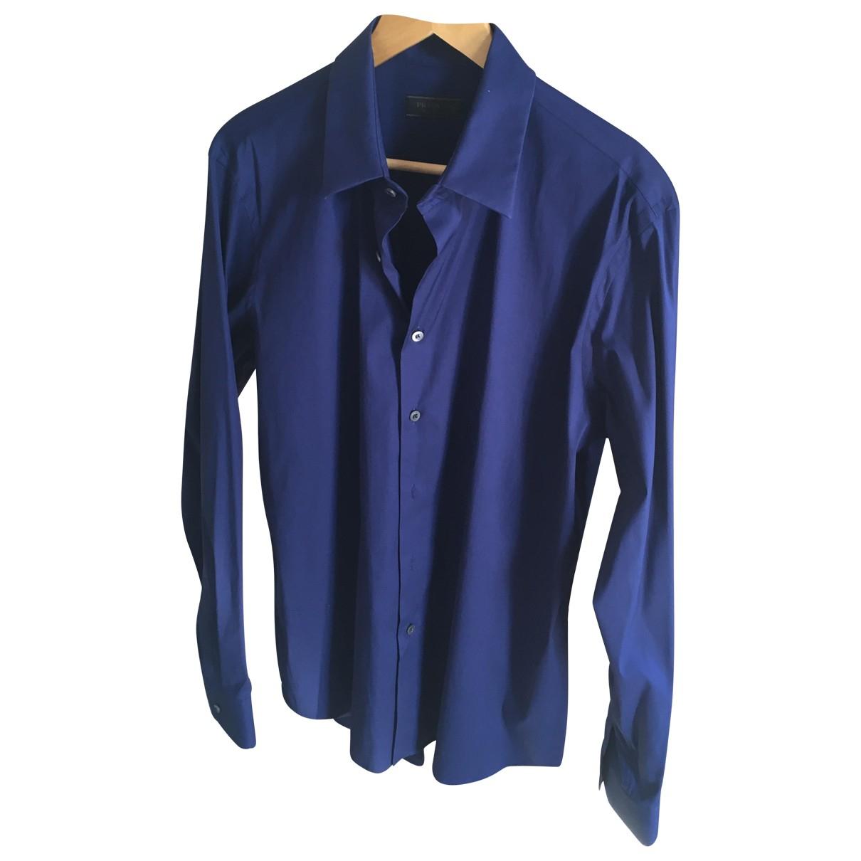 Prada \N Blue Cotton Shirts for Men 43 EU (tour de cou / collar)