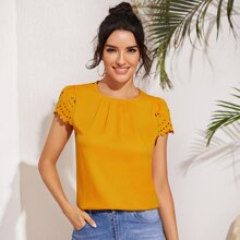 Fold Pleated Front Scallop Edge Laser Cut Sleeve Top