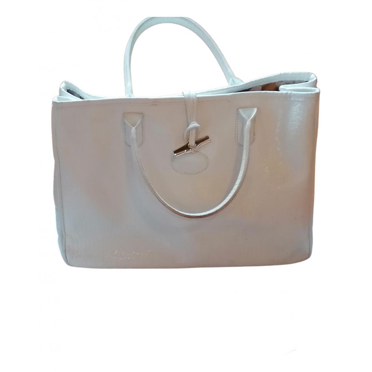 Longchamp - Sac a main Roseau pour femme en cuir - blanc