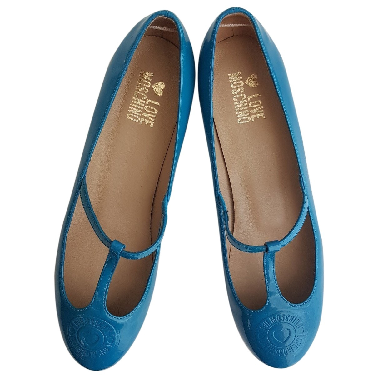 Moschino Love - Ballerines   pour femme en cuir - turquoise