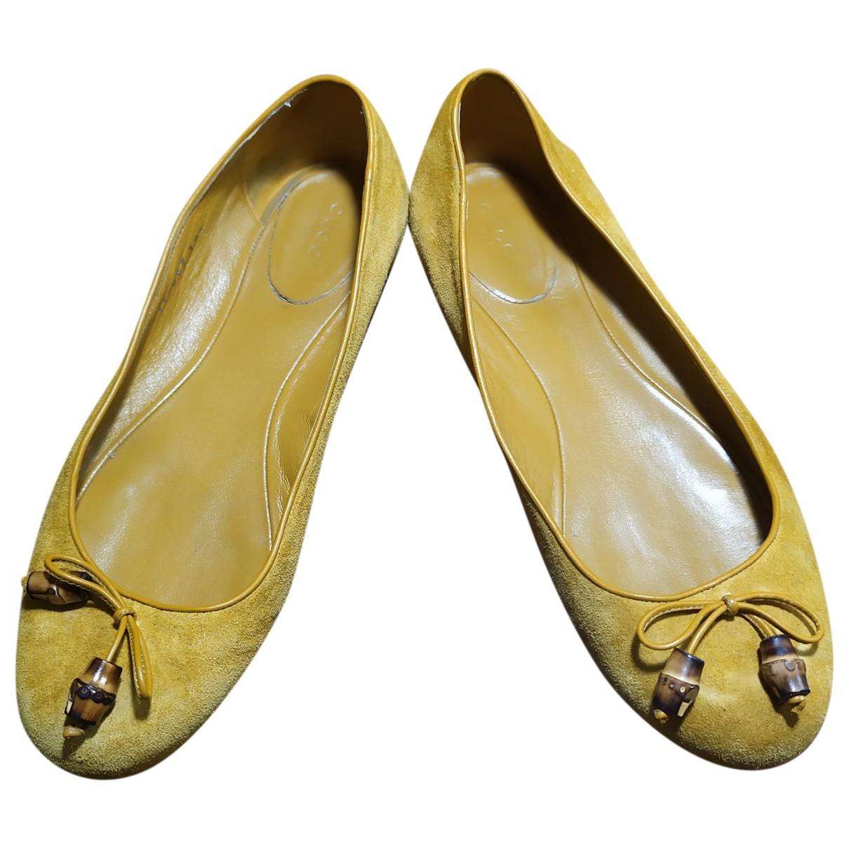 Gucci \N Yellow Suede Ballet flats for Women 39.5 EU