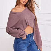 Notch Neck Drop Shoulder Crop Tee