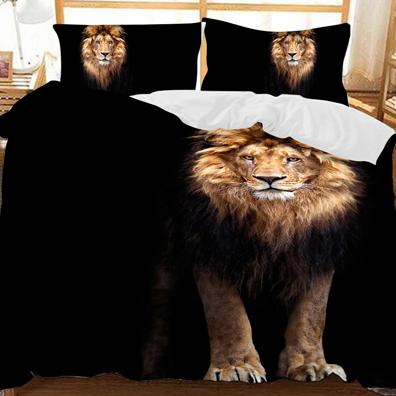 The Lion Standing In The Dark Polyester 3-Piece Bedding Sets/Duvet Covers