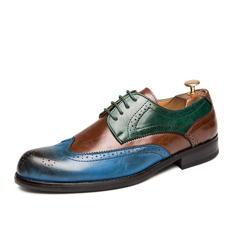 Men Brogue Color Blocking Oxfords Stylish Party Formal Shoes