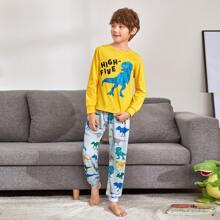 Schlafanzug Set mit Buchstaben und Dinosaurier Muster