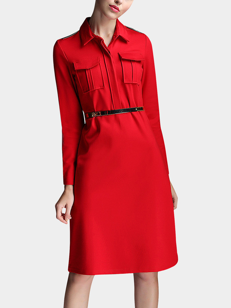 Yoins A-line Shirt Dress with Belt