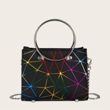 Bolso cartera con patron geometrico con asa de aro