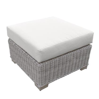 Coast Collection TKC038b-O-WHITE 28 Ottoman with Hand Woven Wicker  Removable Cushion Cover  Powder Coated Aluminum Frame and 2 Covers in Beige and