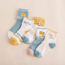 5pairs Toddler Boys Cartoon Graphic Ankle Socks