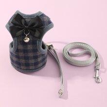 1pc Bow Decor Plaid Dog Harness & 1pc Dog Leash