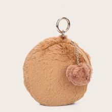 Pom-pom Charm Faux Fur Circle Bag With Keychain