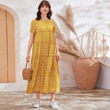 Kleid mit Rueschenbesatz, Schosschensaum und Bluemchen Muster