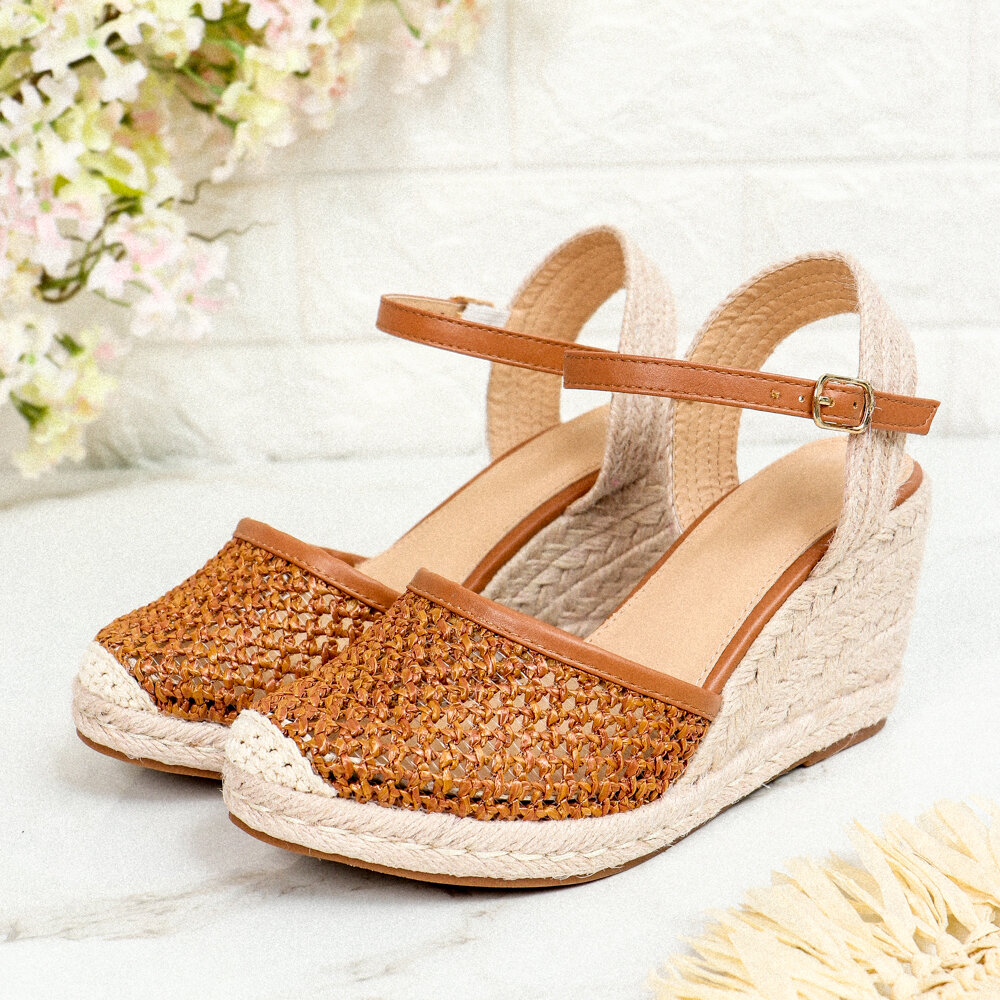 Women Hollow Ankle Buckle Strap Espadrilles Wedges Sadals