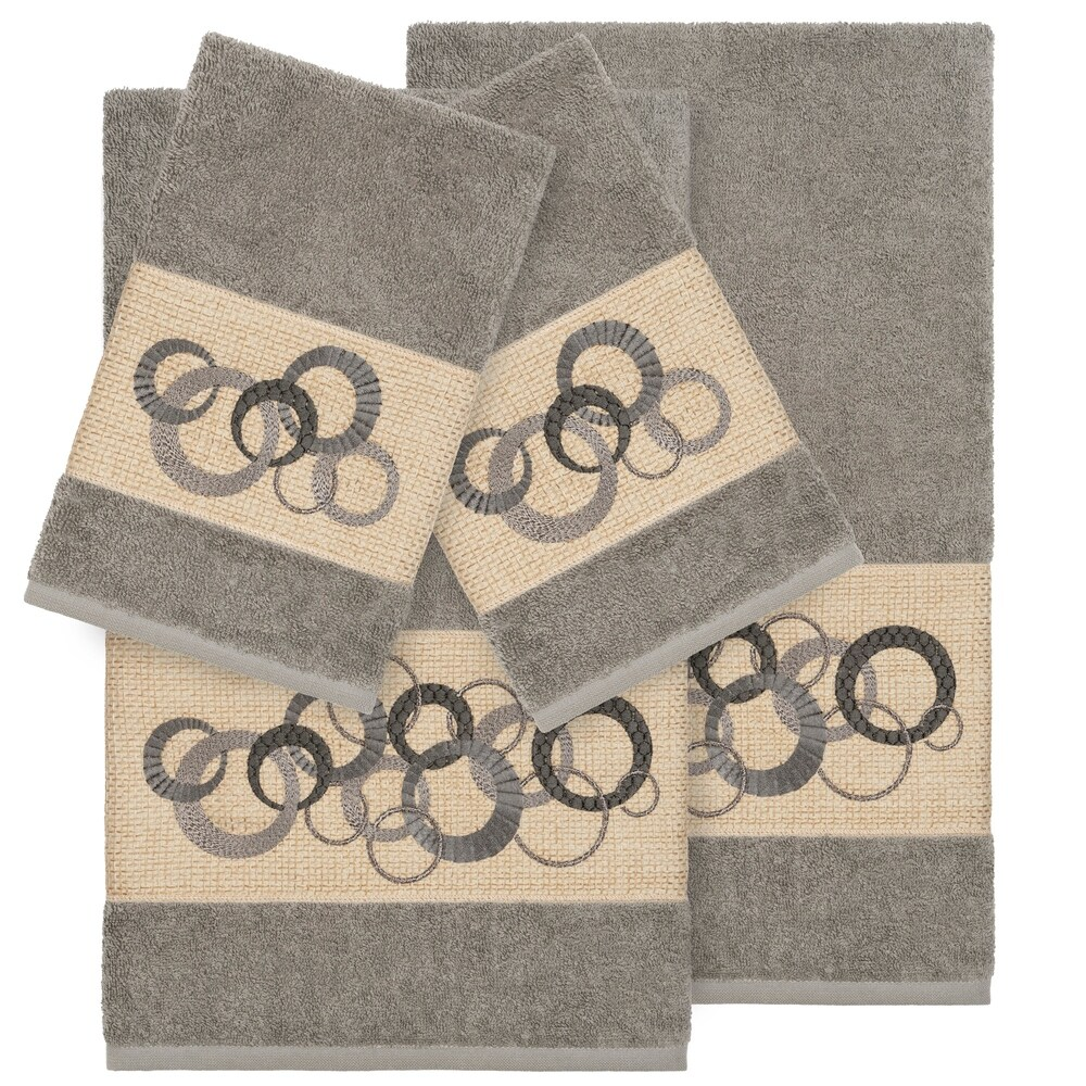 Authentic Hotel and Spa Turkish Cotton Circles Embroidered Dark Grey 4-piece Towel Set (Charcoal)