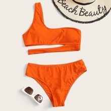 Cut-out One Shoulder Bikini Set