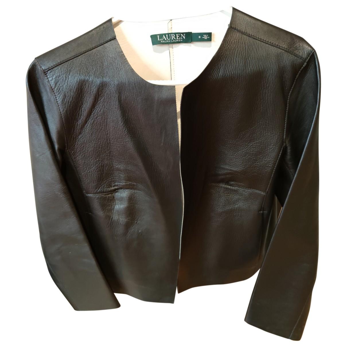 Lauren Ralph Lauren - Veste   pour femme en cuir - noir
