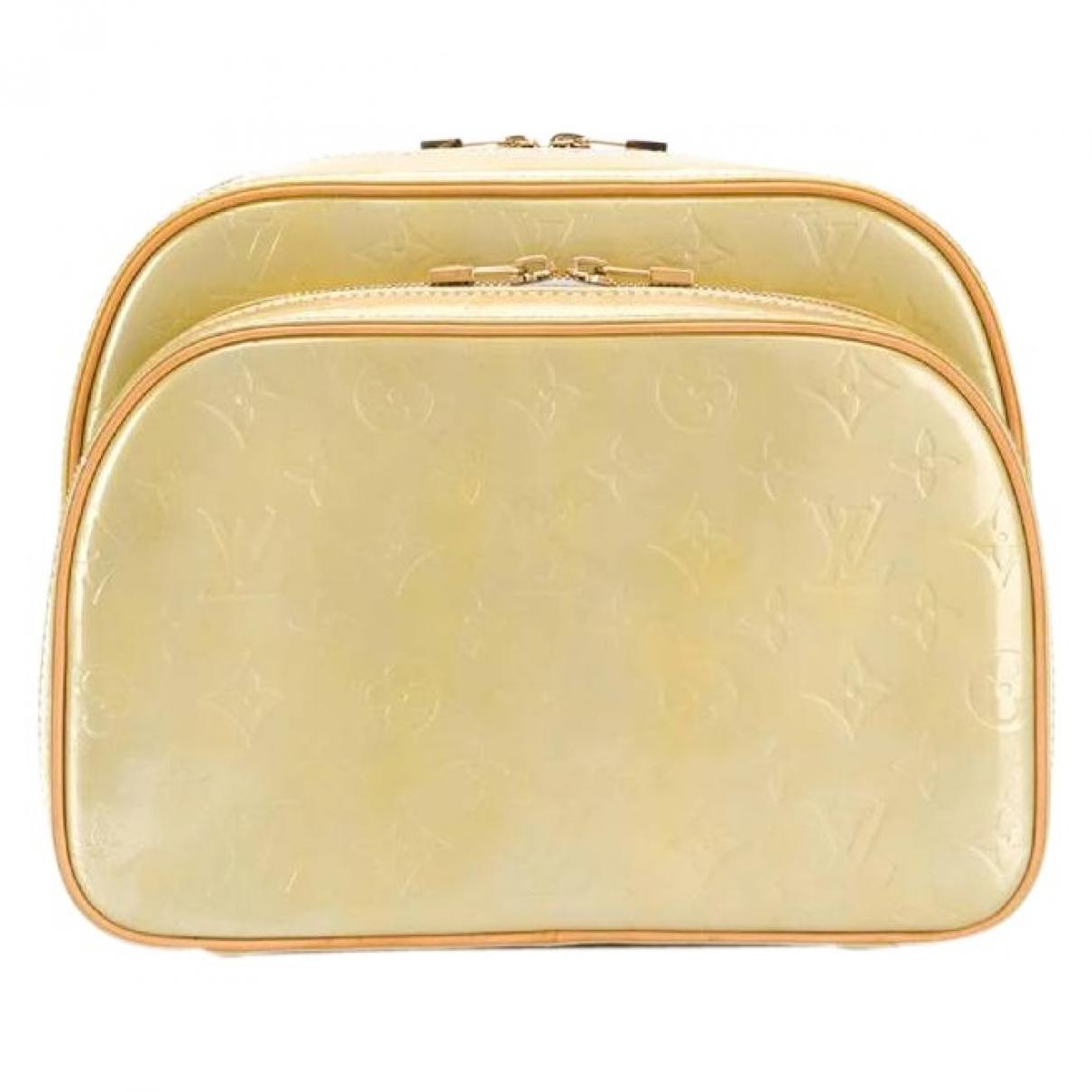 Louis Vuitton - Sac a dos   pour femme en cuir verni - beige