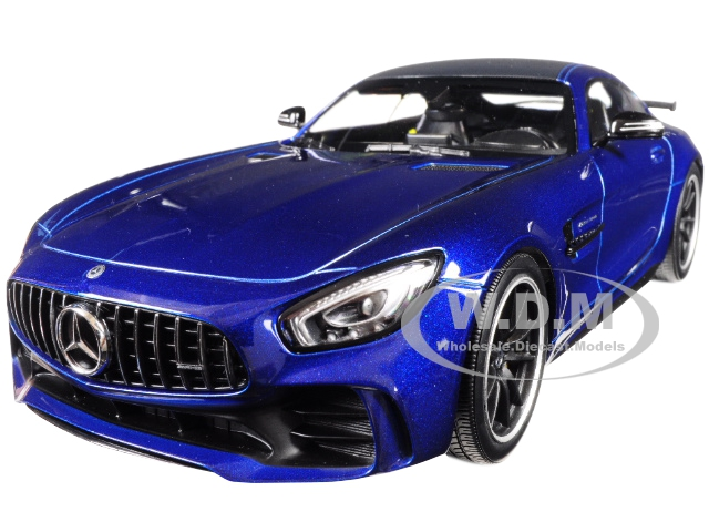 2017 Mercedes AMG GT-R Metallic Blue with Black Top Limited Edition to 402 pieces Worldwide 1/18 Diecast Model Car by Minichamps