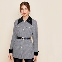 Contrast Collar Pearl Button Front Houndstooth Tweed Coat Without Belt