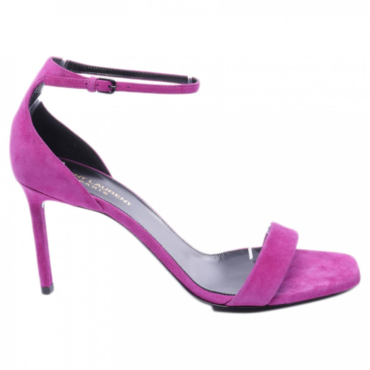 Saint Laurent \N Purple Leather Sandals for Women 39.5 EU