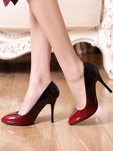 Milanoo Women\'s High Heels Pointed Toe Stiletto Heel Black Ombre Black Red Women High Heel Pumps